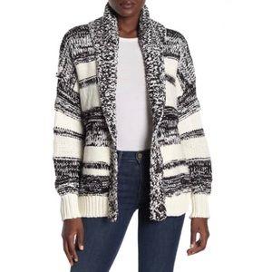 360 Cashmere Drape Front Stripe Knit Cardigan